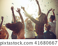 Nightlife and disco concept. Young people are dancing in club. 41680667