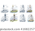 Sketches of lighthouse for sea or ocean banner 41682257
