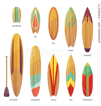 Set of isolated different types of surfboards 41682271