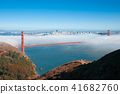 San Francisco Golden Gate bridge on foggy day 41682760