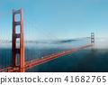 San Francisco Golden Gate bridge on foggy day 41682765