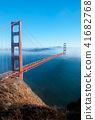 San Francisco Golden Gate bridge on foggy day 41682768