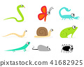 Set of side view animal in flat style, vector art 41682925