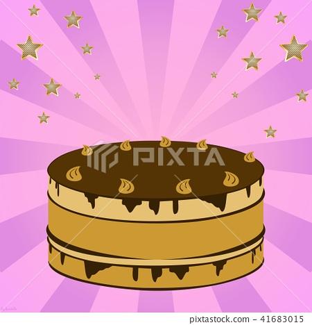 Festive cream cake with fireworks 41683015