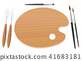 Palette Table Setting Paintbrushes Spatulas 41683181