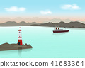 Lighthouse with Ocean liner in the ocean 41683364