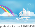 Sailing ship with Dolphin in the sea and rainbow 41683458