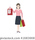 Woman holding shopping bag and sale tag icon 41683668