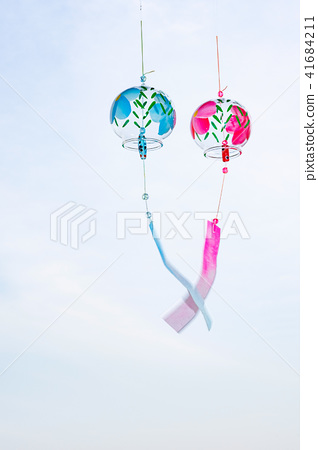 Wind chimes red blue summer 41684211