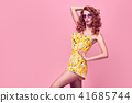 Fashion model girl Posing in Studio. Summer Outfit 41685744