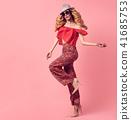 Fashion Beautiful Blond Woman.Stylish Outfit.Heels 41685753