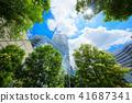 도쿄역 야 에스 출구 앞의 녹색과 푸른 하늘 41687341