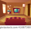 Vector cartoon living room with sofa, TV 41687360