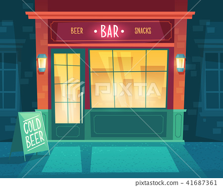 Vector cartoon background with bar at night 41687361
