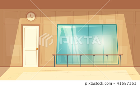 Vector cartoon empty dance-hall with mirrors 41687363
