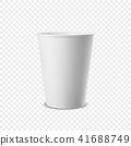 Vector realistic 3d white paper disposable cup icon isolated on transparency grid background. Design 41688749