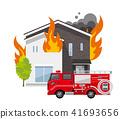 房子,房子:火,火,消防车 41693656