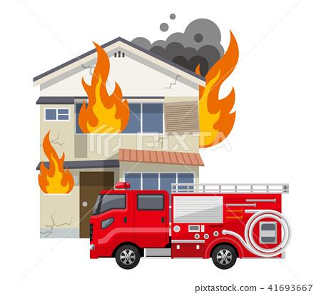 老房子,房子:火,火,消防車 41693667