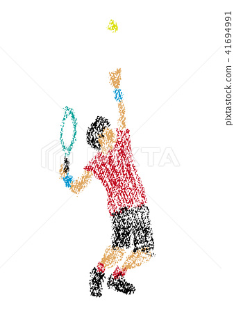 网球员的例证画与蜡笔 41694991