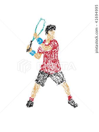 网球员的例证画与蜡笔 41694995