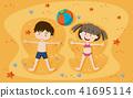 sand, girl, boy 41695114