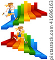 A Man Running on Colourful Stair 41696163
