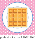 Waffle on Plate Pink Background 41696167