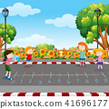 children, park, vector 41696177