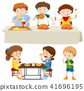 A Set of Children Eating 41696195