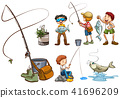 A Set of People Fishing 41696209