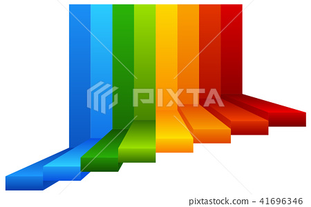 A Colourful Stairway on White Background 41696346