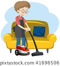 A Man Cleaning the House 41696506