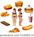 Overweight women with unhealthy food 41696514