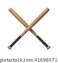 3d rendering of two wooden baseball bats with handle wraps making a cross shape on a white 41696571