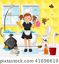A Maid Cleaning Dirty Bathroom 41696619