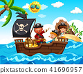 Pirate and Kids on the Boat 41696957