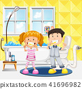Young children brushing their teeth scene 41696982