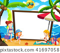 A Whiteboard with Summer Theme 41697058