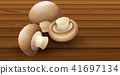 Edible Mushroom on Wooden Background 41697134