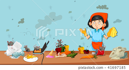 Dirty kitchen scene with cleaner 41697185