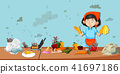 Dirty kitchen scene with cleaner 41697186