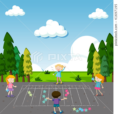 Children Play Math Game at Park 41697195