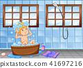 Young boy having a bath scene 41697216