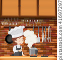 A Chef Cooking in Kitchen 41697297