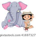 A Safari Girl with Elephant 41697327