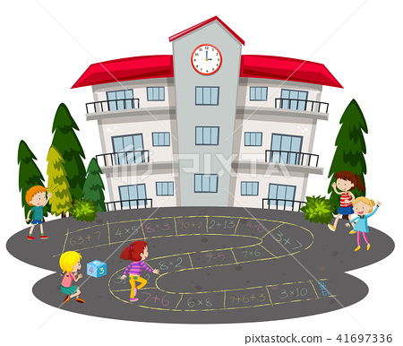 Children playing hopscotch in front of a school 41697336