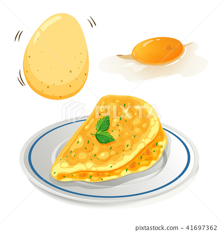 An Omelet on White Background 41697362