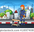 A Construction Worker in City 41697408