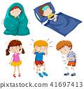 sick kid vector 41697413