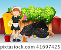 A Maid Cleaning Dirty Area 41697425